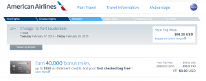 American Airlines Booking Page: Chicago to Miami