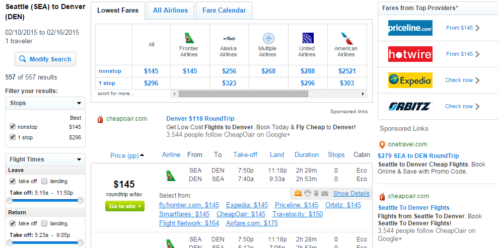 Fly.com Results Page: Seattle to Denver