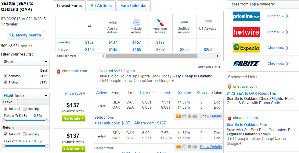 Fly.com Results Page: Seattle to Oakland