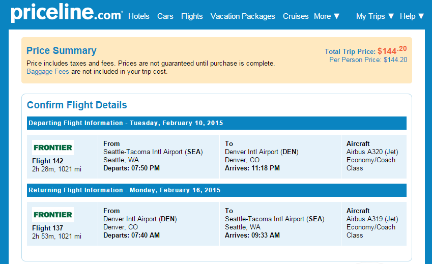 Priceline Booking Page: Seattle to Denver