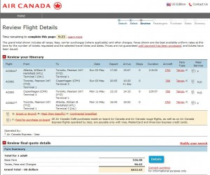 Atlanta-Copenhagen: Air Canada Booking Page