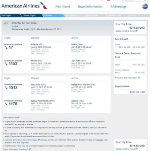Atlanta-San Jose: American Booking Page