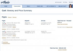 Atlanta to Los Angeles: Alaska Airlines Booking Page