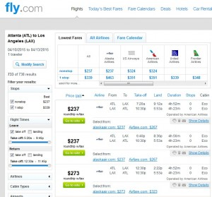 Atlanta to Los Angeles: Fly.com Results