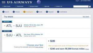 Atlanta to San Juan, Puerto Rico: US Air Booking Page