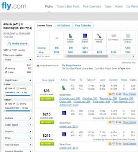 Atlanta to Washington, D.C.: Fly.com Results