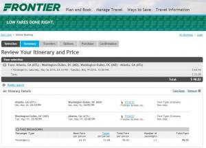 Atlanta to Washington, D.C.: Frontier Booking Page