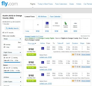 Austin to Orange County: Fly.com Results