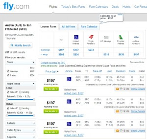 Austin to San Francisco: Fly.com Results