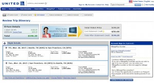Austin to Orange County: United Booking Page