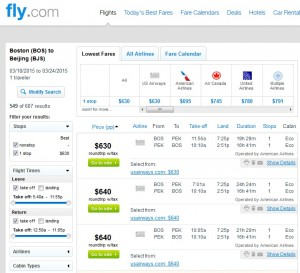 Boston to Beijing: Fly.com Results