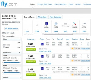 Boston to Vancouver: Fly.com Results