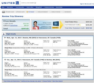 Boston to Vancouver: United Booking Page