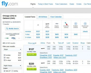 Chicago-Oakland: Fly.com Search Results