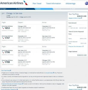 Chicago-San Jose: American Airlines Booking Page