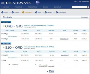 Chicago-San Jose: US Airways Booking Page