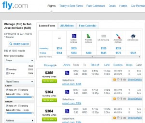 Chicago to Cabo: Fly.com Results