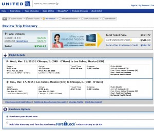 Chicago to Cabo: United Booking Page