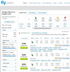 Chicago to Los Angeles: Fly.com Results
