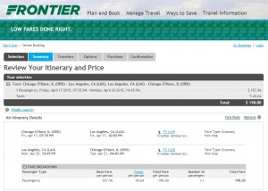 Chicago to Los Angeles: Frontier Booking Page