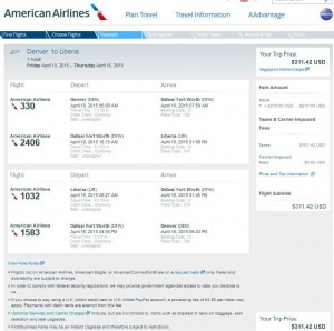 Denver-Liberia: AA Booking Page