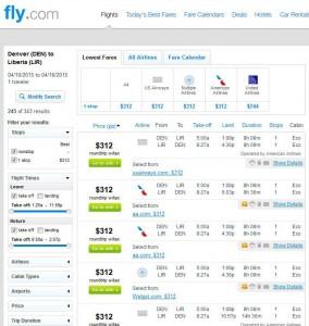 Denver-Liberia: Fly.com Search Results