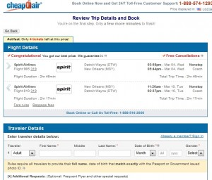 Detroit to New Orleans: CheapOair Booking Page