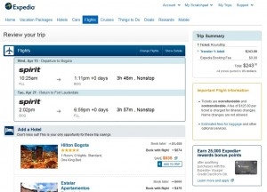 Fort Lauderdale to Bogota: Expedia Booking Page
