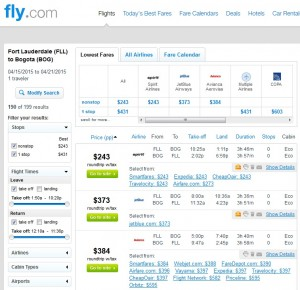 Fort Lauderdale to Bogota: Fly.com Results