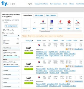 Houston to Hong Kong: Fly.com Results