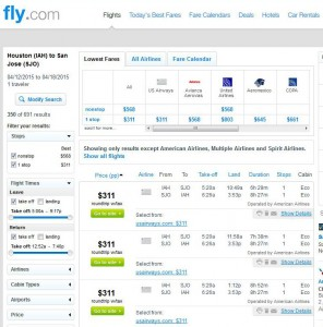 Houston-San Jose: Fly.com Search Results