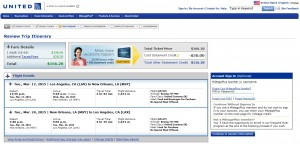 Los Angeles to New Orleans: United Booking Page