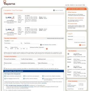 Miami to Bogota: Vayama Booking Page