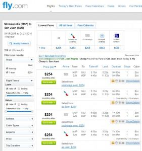 Minneapolis - San Juan, Puerto Rico: Fly.com Results