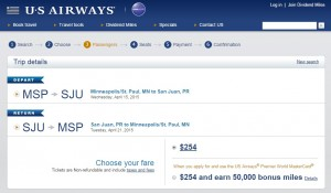 Minneapolis - San Juan, Puerto Rico: US Air Booking Page