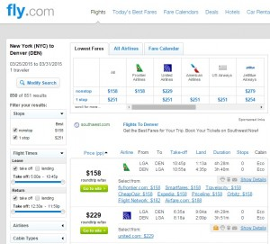 New York City to Denver: Fly.com Results