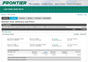 New York City to Denver: Frontier Booking Page