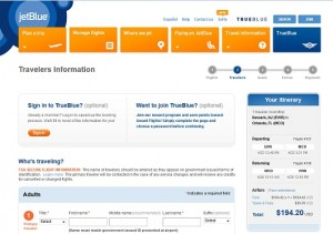 New York City to Orlando: JetBlue Booking Page