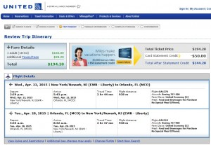 New York City to Orlando: United Booking Page