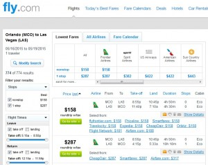 Orlando to Las Vegas: Fly.com Results