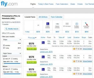 Philadelphia-Honolulu: Fly.com Search Results