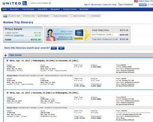 Philadelphia-Honolulu: United Booking Page