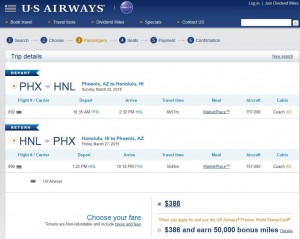 Phoenix-Honolulu: US Booking Page