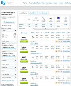 Philadelphia to Las Vegas: Fly.com Results