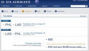 Philadelphia to Las Vegas: US Air Booking Page
