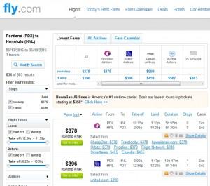 Portland to Honolulu: Fly.com Results