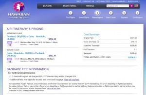 Portland to Honolulu: Hawaiian Airlines Booking Page