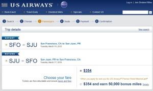San Francisco to San Juan: US Air Booking Page