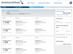 St. Louis-San Juan: American Airlines Booking Page