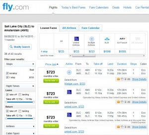 Salt Lake City to Amsterdam: Fly.com Results